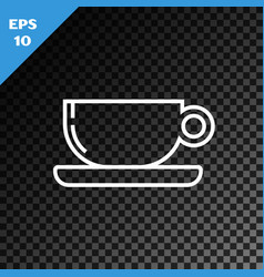 White line coffee cup flat icon isolated on vector