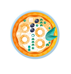 whole hot delicious vegetarian pizza with olive vector image