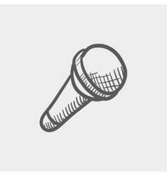 Wireless microphone sketch icon vector image