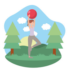 Young woman exercising cartoon vector