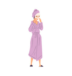 Young woman in bathrobe with cosmetic face mask vector