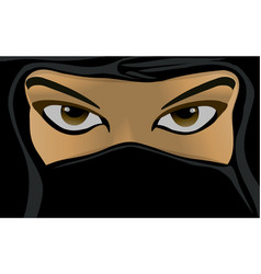 Young woman wearing a black burqa vector