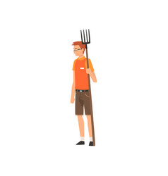 Zoo worker standing with pitchfork professional vector