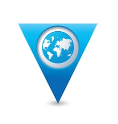 earth icon on map pointer blue vector image vector image