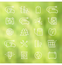 Icon set of electric car and ecology vector image vector image