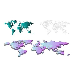 Low poly of 3D and structure line world map vector image