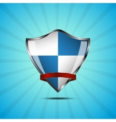 Metallic blue and white silver shield vector image