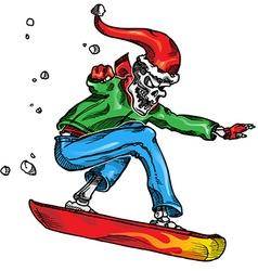 skeleton snow boarder vector image