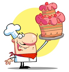 Bakery Chef Holding Up A Beautifully Cake vector image