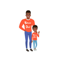 father and son dressed in red shirts with the vector image vector image