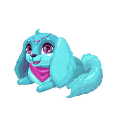 little cute cartoon blue fluffy puppy vector image vector image