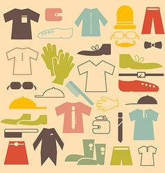 Retro Clothing Flat Design Icons Set vector image