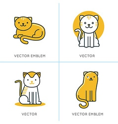 set of icons and in trendy linear style vector image vector image