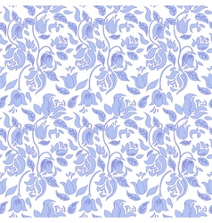 Blue and white tulip and rose floral textile vector image vector image