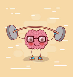 brain cartoon with glasses and weightlifting and vector image vector image