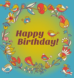 happy birthday greeting card circle floral frame vector image