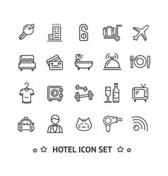 Hotel Icon Thin Line Set vector image