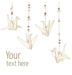 isolated of hanging origami paper cranes vector image