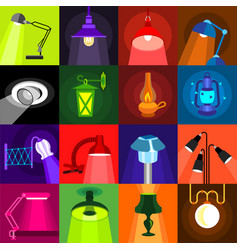Lamp glow icons set flat style vector