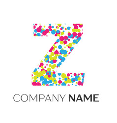 Letter z logo with blue yellow red particles vector