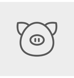 Pig face thin line icon vector image