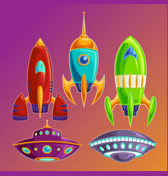 set amusing spaceships and ufos vector image