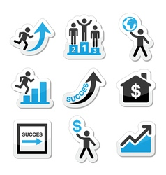 Success in business self development icons set vector image vector image