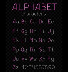thin alphabet dark transparent background vector image