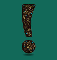 vintage exclamation point with golden flowers vector image