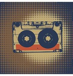 Audiocassette retro music background Audiocassette vector image vector image