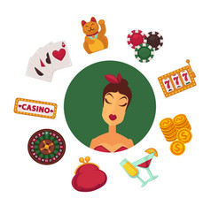 elegant female player in casino and equipment for vector image