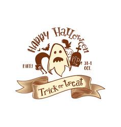 trick or treat retro party logo vector image vector image