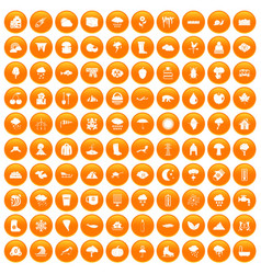 100 clouds icons set orange vector
