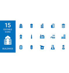 15 buildings icons vector