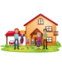 A big family in front of a big house vector image vector image