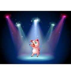 A stage with a pig at the center vector