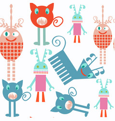 abstract kids monsters seamless pattern it is vector image