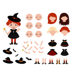 Adorable little witch constructor halloween vector