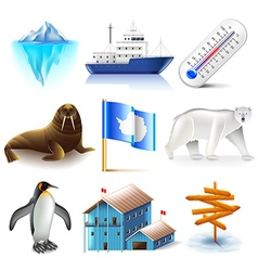 Antarctica icons set vector