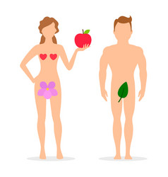 apple adam and eve silhouettes vector image