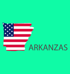 Arkanzas state of america with map flag print on vector