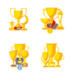 award trophy cup sports winners golden medal vector image