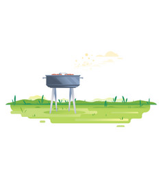 barbecue grill on green glass vector image
