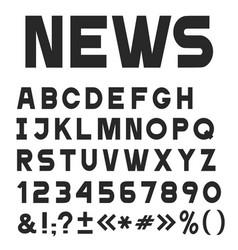 black simple universal font alphabet vector image