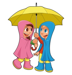 Boy and girl under the umbrella vector