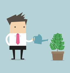 Businessman watering money plant vector image