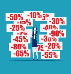 businesswoman with discount pricing labels vector image