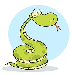 Cartoon coiled happy viper vector
