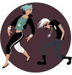 Cartoon couple dancing vector image