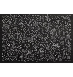 Chalkboard hand drawn doodles cartoon set vector
